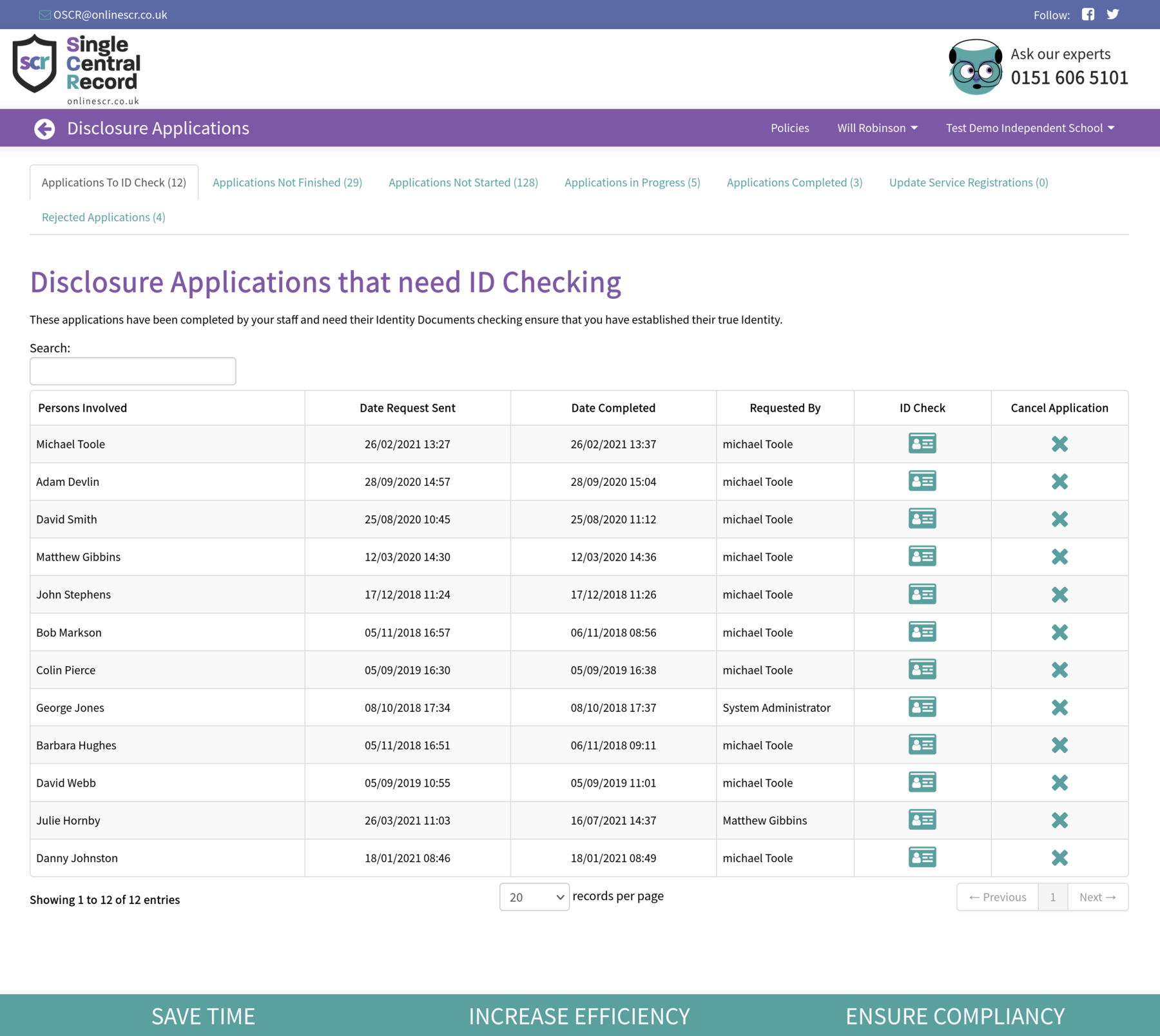 Screenshot of the Disclosure Applications that need ID Checking screen