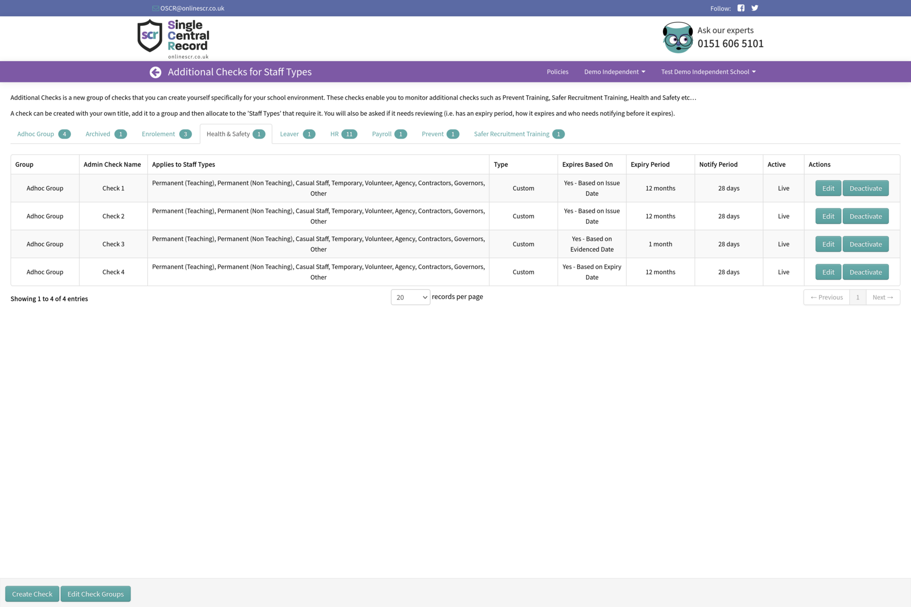 Screenshot of the Additional Checks screen of the Single Central Record system
